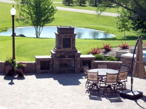 ks outdoor fireplace on paver patio